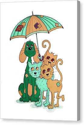 Scarecrow Dog Cats And Brolly Canvas Print by Sandra Moore