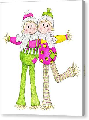 Scarecrow Pals Canvas Print by Sandra Moore