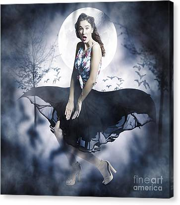 Scared Young Woman In Eerie Halloween Forest  Canvas Print by Jorgo Photography - Wall Art Gallery