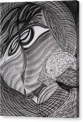 Canvas Print featuring the drawing Scarf by Patricia Cleasby
