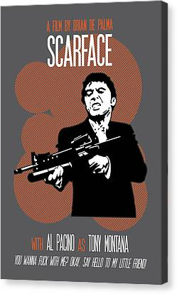 Scarface Poster Tony Montana Print Quote - Say Hello To My Little Friend Canvas Print by Beautify My Walls