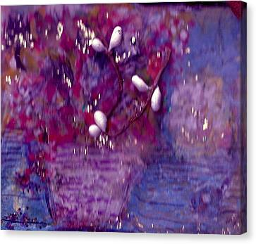 Scarlet  And Blue  For True Canvas Print by Anne-Elizabeth Whiteway
