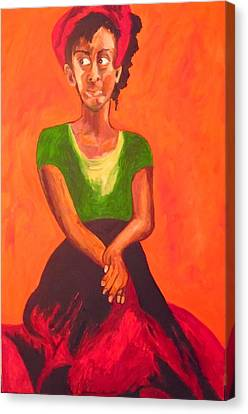 Canvas Print featuring the painting Scarlet by Esther Newman-Cohen