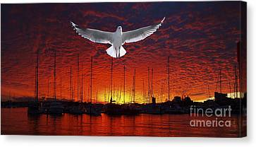 Scarlet Ocean Sunset. Original Exclusive Photo Art. Canvas Print by Geoff Childs