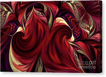 Canvas Print featuring the digital art Scarlet Red by Deborah Benoit