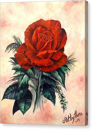 Scarlet Red Rose Canvas Print by Art By Three Sarah Rebekah Rachel White