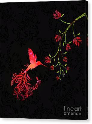 Scarlet Twilight Damask Hummingbird Fantasy Art Canvas Print by Tina Lavoie