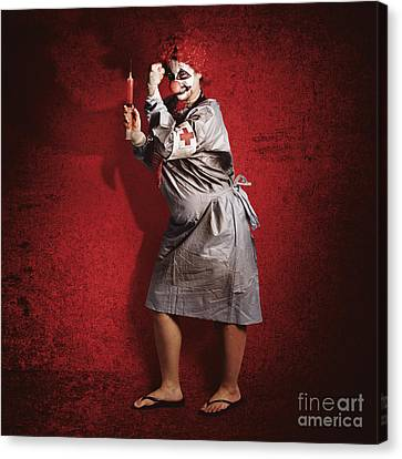 Scary Clown Doctor About To Give Jab With Syringe Canvas Print by Jorgo Photography - Wall Art Gallery