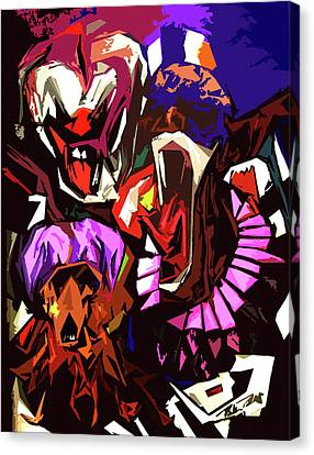 Scary Clowns Abstract Canvas Print by Peter Piatt