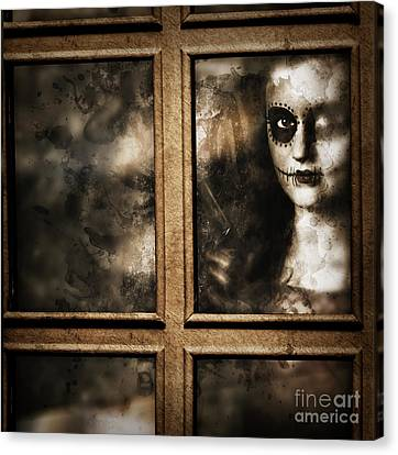 Scary Murderer Standing By The Window With Handgun Canvas Print