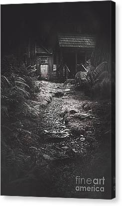 Scary Old Abandoned Hut In Creepy Deserted Forest Canvas Print by Jorgo Photography - Wall Art Gallery