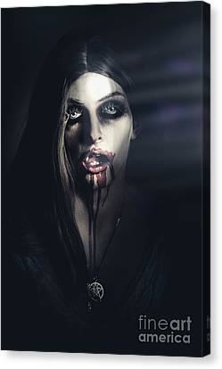 Scary Undead Zombie Girl Lurking In Dark Shadows Canvas Print by Jorgo Photography - Wall Art Gallery