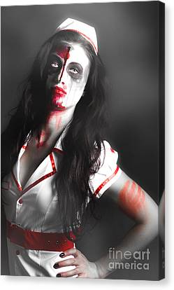 Scary Zombie Nurse With Facial Wounds Canvas Print by Jorgo Photography - Wall Art Gallery