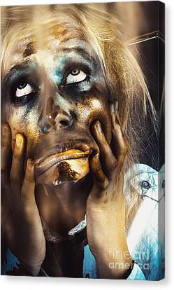 Scary Zombie Pulling Funny Face  Canvas Print by Jorgo Photography - Wall Art Gallery