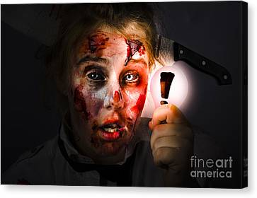 Scary Zombie With Halloween Idea Light Bulb Canvas Print by Jorgo Photography - Wall Art Gallery