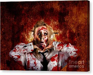 Shock Canvas Print - Scary Zombie Woman With Expression Of Shock Horror  by Jorgo Photography - Wall Art Gallery
