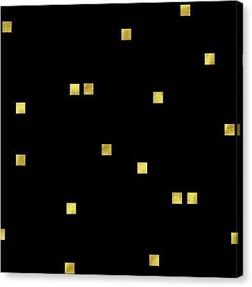 Scattered Gold Square Confetti Gold Glitter Confetti On Black Canvas Print