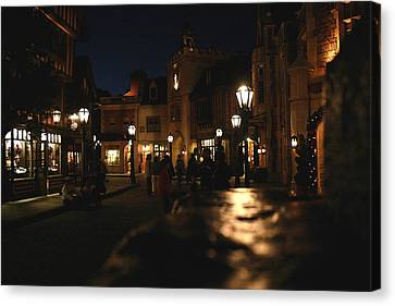Scene From French Village Street At Night At Disney Epcot Canvas Print