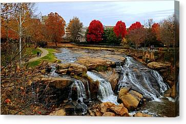 Scene From The Falls Park Bridge In Greenville, Sc Canvas Print by Kathy Barney