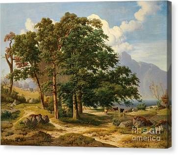 Scene From The Salzkammergut Canvas Print by Celestial Images