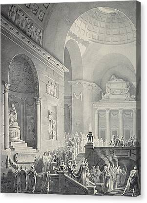 Scene In A Classical Temple  Funeral Procession Of A Warrior Canvas Print