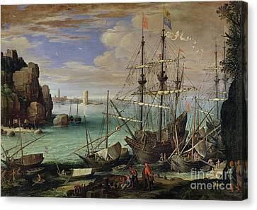 Scene Of A Sea Port Canvas Print