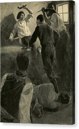 Scene Of Adventure In The Life Of Young Canvas Print by Everett