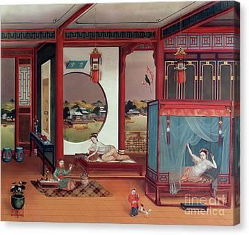 Women. Eighteenth Century Canvas Print - Scene Of An Interior by Chinese School