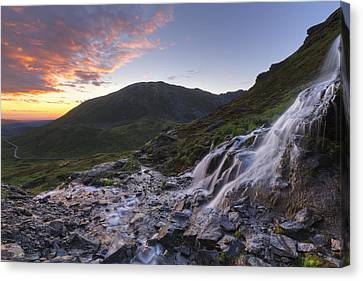 Scenic Sunset View Of A Waterfall Canvas Print by Lucas Payne