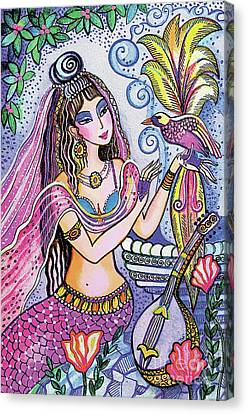 Canvas Print featuring the painting Scheherazade's Bird by Eva Campbell