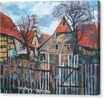 Scheunen Am Ortsrand Lienzingen Canvas Print by Martin Stankewitz