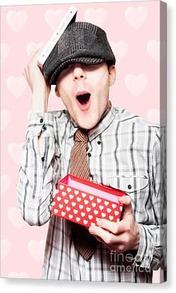 School Boy In Love Holding Valentines Day Present Canvas Print by Jorgo Photography - Wall Art Gallery