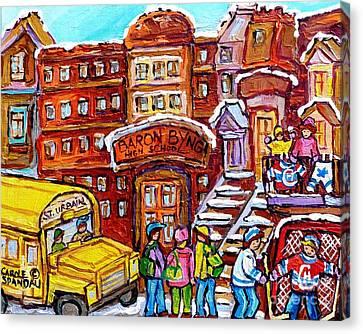 Youth Hockey Canvas Print - School Bus Rue St Urbain Baron Byng High Montreal 375 Hockey Art Colorful Street Scene Painting      by Carole Spandau
