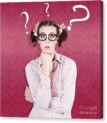 School Girl Looking Up At Question Mark Symbols Canvas Print