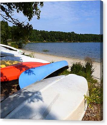 School House Pond Boats Canvas Print by Sharon Eng