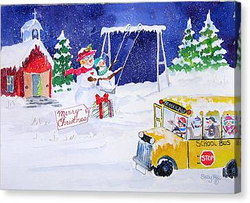 School Bus Canvas Print - School' Is Out by Suzy Pal Powell