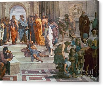 Greek School Of Art Canvas Print - School Of Athens, Detail From Right Hand Side Showing Diogenes On The Steps And Euclid by Raphael