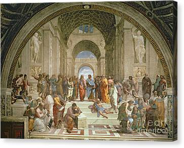 Athens Canvas Print - School Of Athens From The Stanza Della Segnatura by Raphael