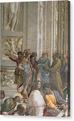 Greek School Of Art Canvas Print - School Of Athens, From The Stanza Della Segnatura by Raphael