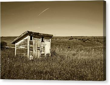 School Outhouse Toilet Canvas Print by Donald  Erickson