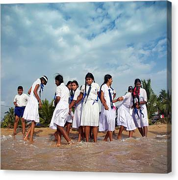 School Trip To Beach II Canvas Print by Rafa Rivas