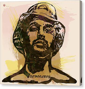 Labelled Canvas Print - Schoolboy Q Pop Stylised Art Sketch Poster by Kim Wang