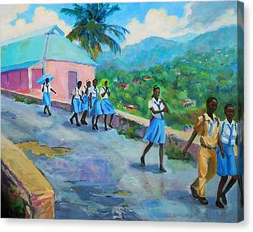 School's Out In Jamaica Canvas Print by Margaret  Plumb