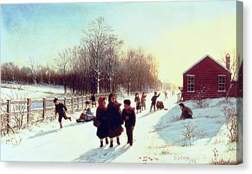 Winter Roads Canvas Print - School's Out by Samuel S Carr
