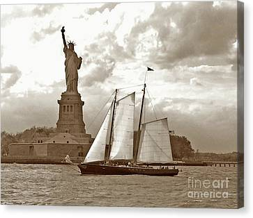 Schooner At Statue Of Liberty Twurl Canvas Print