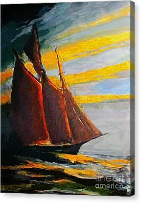 Bluenose Canvas Print - Schooner Cutting Through The Sea by John Malone