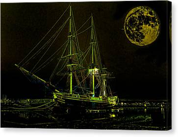 Sea Moon Full Moon Canvas Print - Schooner Friendship And The Super Moon by William Jobes