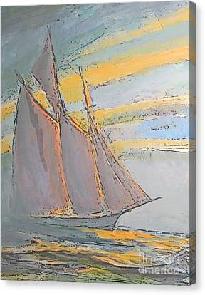 Bluenose Canvas Print - Schooner In The Fog by John Malone