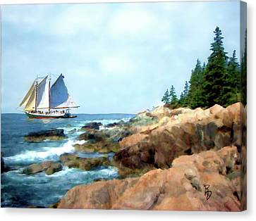 Rocky Maine Coast Canvas Print - Schooner In The Penobscot Bay by Ric Darrell