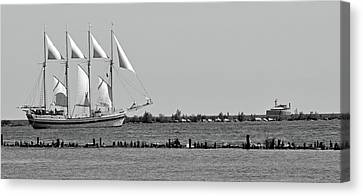 Schooner On Lake Michigan No. 1-1 Canvas Print by Sandy Taylor